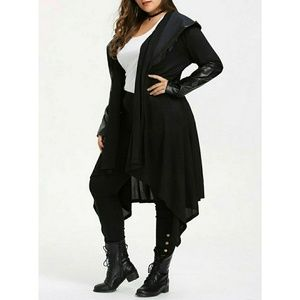 Black Plus Size 14 Cardigan Faux Leather Accent XL
